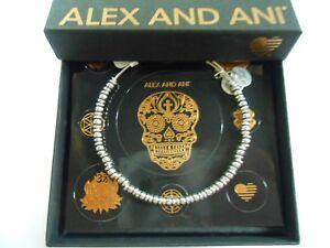 Alex and Ani Rocker Beaded Bangle Bracelet Rafaelian Silver NWTBC