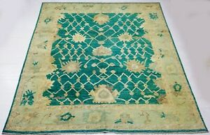 8 x 10 ft Sea Green Color Hand-knotted Afghan Chobi Area Rug, Wool Pile Carpet