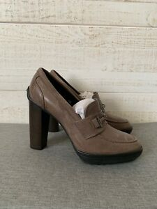 TOD'S NWOB $450 Women's Pumps Heels Shoes Leather Taupe Size 38 US 8