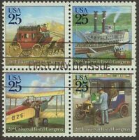 Scott #2434-37 Used Block of Four, Classic Mail Transportation