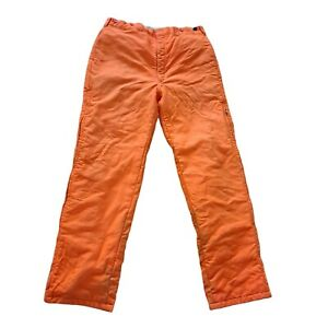 VTG Woolrich Blaze Orange Hunting Pants Insulated Zip Legs Made USA Size 36x32