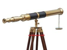 ANTIQUE NAUTICAL BRASS TELESCOPE WITH WOODEN TRIPOD STAND MARITIME DECOR
