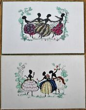 Silhouette 1920 PAIR Art Deco Postcards - Women Dancing