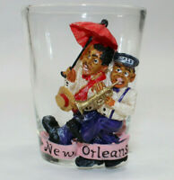 New Orleans JAZZ Players Band 3D resin Shot Glass Red Umbrella Trumpet Vintage