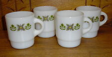4 Vintage Anchor Hocking Fire King Mugs w/ Green Flowers
