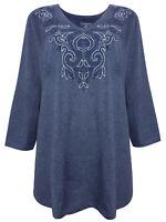 Stickerei Shirt Longshirt Shirt Tunika Top Navy 46 48 50 52 54 56 58 60 62 64
