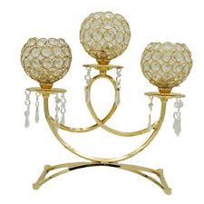 Gold Crystal Mosaic Glass Candle Holder Tea Light Candlestick Centerpiece Decor