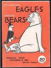 11/5 1961 CHICAGO BEARS PHILADELPHIA EAGLES PROGRAM FRANKLIN FIELD EX/NM