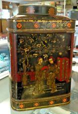 Large Antique Oriental Decorated Tea Tin/Caddy