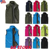 Men's Warm Sleeveless Fleece Waistcoat Vest Casual Zip Up Jacket Coat Outdoor US