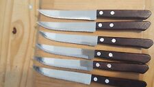 SET OF 6  RESTAURANT STEAK KNIVES WOOD HANDLES USE TO CUT BREAD
