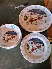 18 pcs.  Christmas Snowman Melamine dishes