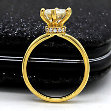 2 CT Solitaire Moissanite Wedding Engagement Ring 14kt Solid Yellow Gold