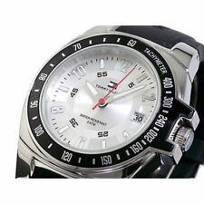 NIB Tommy Hilfiger 1790485 Silvery White Dial Black Rubber Men's Watch