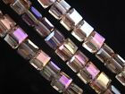 30pcs 6mm Cube Square Faceted Crystal Glass Charm Loose Beads Silver ChampagneAB