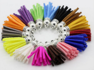 100pcs Suede Leather Tassel Keychain Cellphone Straps Jewelry Charms Craft 40mm