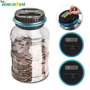 1.8L Piggy Bank Digital LCD Display Coin Counter For USD EURO GBP Money !