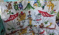 Everglaze Washable Chintz Fabric LOT 2 VTG mcm kids Circus Carnival 35x19 ANIMAL