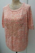 Tu Ladies Size 14 Pink Marl Star Jewel Embellished Jumper Christmas Wear Sweater