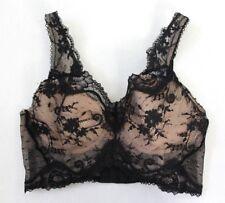 Victoria's Secret Dream Angels Lace & Dot Mesh Long Line Bra Size 32C Black