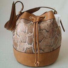 *BRAND NEW WITH TAG* NEIMAN MARCUS EXOTIC PRINT BUCKET BAG HANDBAG - CAMEL BROWN