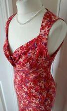 NOUGAT London 100% Silk Floral Dress Red Purple Beige Occasion 10 12 UK RETRO