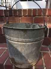 """Vintage Galvanized Metal Pail Bucket 11"""" Diameter Dings As Is Stamped 12"""