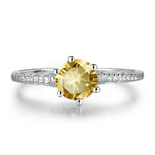 1.0ct Flawless Citrine Round 6.5mm Solitaire Solid 18K White Gold Gemstone Ring