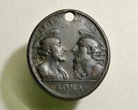 Big Antique Christian Religion Bronze Icon Pendant Medallion Peter and Paul Roma