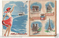Holland America Line 1956 Map of Paris w Map of PARIS METRO Ocean Liner Ephemera