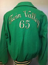 Vtg 1960s 60s Green Wool Car Club Coat Jacket Mens M Stadium School Varsity 1965