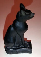 Vintage Egyptian Black Bast Stone Cat Ornament, Approx 9cm Tall, Used