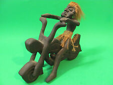 "Tiki Motorcycle Rider. Wood Carved. Almost 7"" Tall."