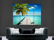 TROPICAL PARADISE PIER PALM TREE  ART IMAGE HUGE LARGE WALL ART POSTER PICTURE