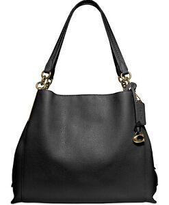 NWT COACH 73545 Dalton 31 Leather Shoulder Bag, Black/Gold