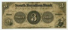 1850's $3 The South Royalton Bank - Vermont Note