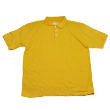 Red Jacket Collar Polo Button Dress Shirt Mens Adult Large Yellow Short Sleeve