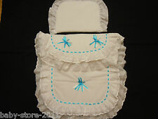 Beautiful Pram Quilt and Pillow Set suitable for MOST PRAMS WHITE /SHOCKING BLUE
