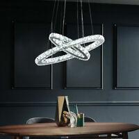 Lampadario Cristallo LED da soffitto sospensione luce del pendente 2 anelli