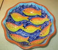 "Vintage Glazed Pottery Portugal Bowl Fish 7"" w x 1 1/8"" Euc Signed Mario Ramalho"
