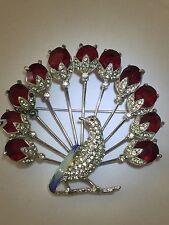 Vintage Trifari KTF Peacock Pin Brooch Ruby Rhinestone Enamel Huge Rare