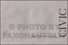 1992 Honda Civic Owners Manual 4 Door Sedan Original Owner Guide Book DX EX LX