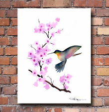"Cherry Blossoms II Watercolor Painting 11"" x 14"" Art Print by Artist DJ Rogers"