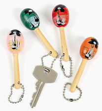 12 WOODEN MARACA KEY CHAINS LUAU PARTY FAVOR Fiesta Cinco De Mayo