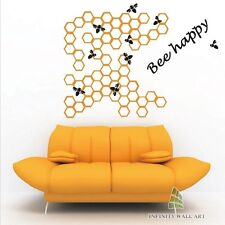 Creative Bee Happy Wall Art Decal, Wall Art Decor, Creative Wall Sticker - Pd105