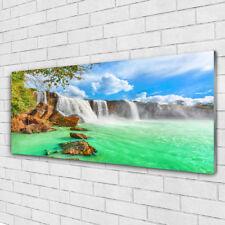Glasbilder Wandbild Druck auf Glas 125x50 Wasserfall See Landschaft