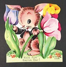 Vintage Easter Card Anthropomorphic Bunny Rabbit In Flowers Unused Ameri-card