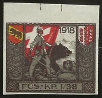 Switzerland WWI Feldpost Soldier 1914-18 3rd Division Local Vignette F/VF-H