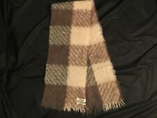"""Lovely St Michaels MOHAIR & WOOL  Plaid SCARF from SCOTLAND 43x8"""" Earth tones"""