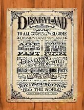 "TIN SIGN ""Disneyland Welcomes You""  Disney Art Painting Ride Poster Dedication"
